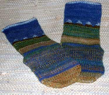 Delta socks, twined knit Ravelympics 2010