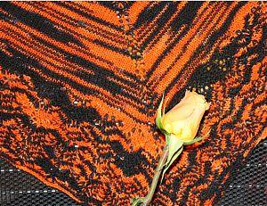 Giants shawl with orange rose