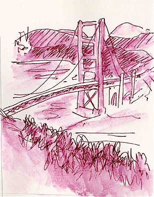 golden gate bridge, pen and ink