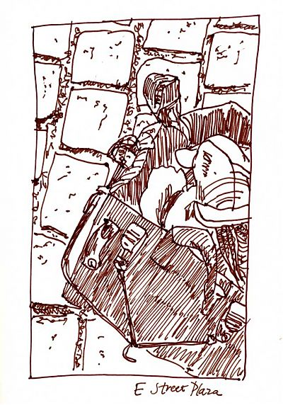 bike basket, pen and ink