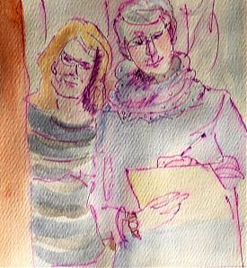 Beth and Alison, pen and wash