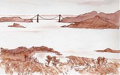 San Francisco Bay, 7 weeks after the oil spill: pen and ink