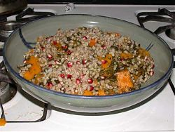 Farro with pomegranate, squash, and sorrel